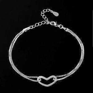 Beautiful Interlocking Heart 925 Plated Bracelet♡